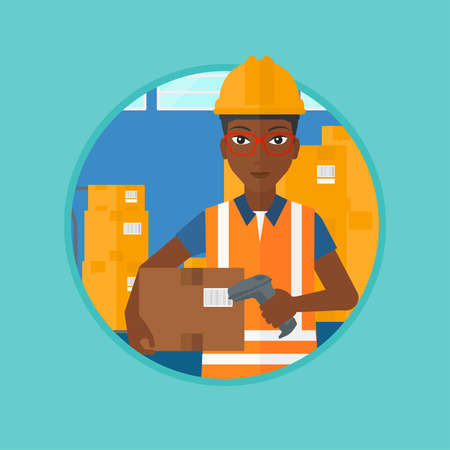 checking: An african-american warehouse worker scanning barcode on box. Worker checking barcode of box with a scanner. Warehouse worker in hard hat with scanner. Vector flat design illustration in the circle.