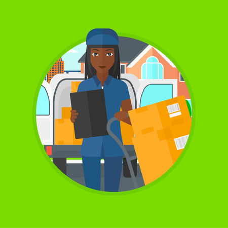 troley: An african-american delivery woman with cardboard boxes on troley. Delivery woman standing in front of delivery van. Vector flat design illustration in the circle isolated on background.