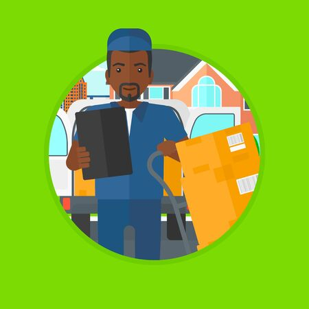 troley: An african-american delivery man with cardboard boxes on troley. Young delivery man standing in front of delivery van. Vector flat design illustration in the circle isolated on background.