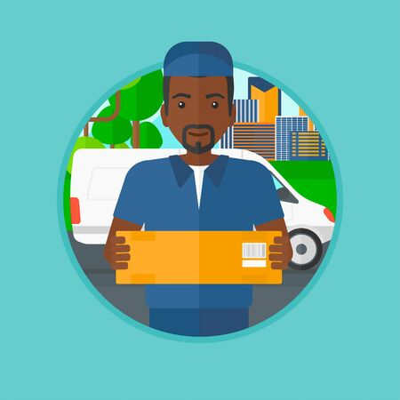 man carrying box: An african-american delivery man carrying cardboard box on the background of delivery truck. Delivery man with a box in his hands. Vector flat design illustration in the circle isolated on background.