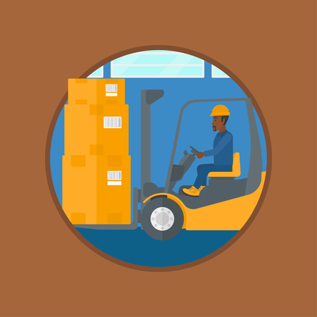 warehouse worker: An african-american warehouse worker loading cardboard boxes. Forklift driver at work in storehouse. Worker driving forklift. Vector flat design illustration in the circle isolated on background.