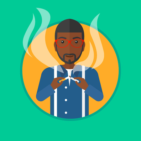 quit smoking: An african-american man breaking the cigarette. Man crushing cigarette. Man holding broken cigarette. Quit smoking concept. Vector flat design illustration in the circle isolated on background.