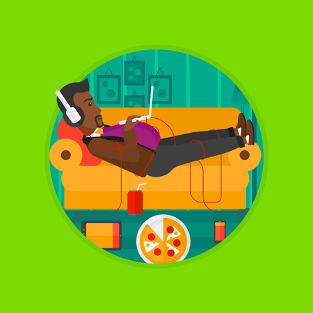 technologic: An african-american man with belly relaxing on a sofa with many gadgets. Man surrounded by gadgets. Man using gadgets at home. Vector flat design illustration in the circle isolated on background.