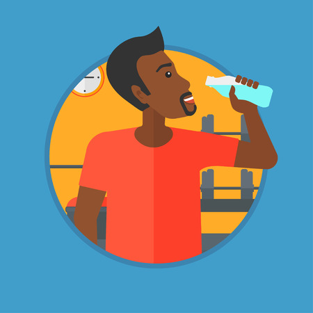 man drinking water: African-american man drinking water. Young sportive man with bottle of water in the gym. Sportsman drinking water from the bottle. Vector flat design illustration in the circle isolated on background.