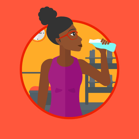 exercising: African-american sportive woman drinking water. Woman with bottle of water in the gym. Young woman drinking water from the bottle. Vector flat design illustration in the circle isolated on background. Illustration