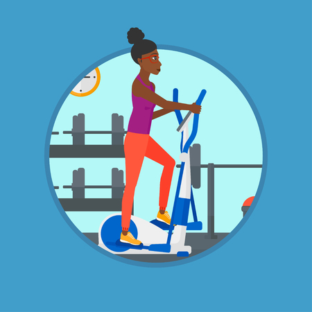 An african-american young woman exercising on elliptical trainer. Woman working out using elliptical trainer at the gym. Vector flat design illustration in the circle isolated on background. Illustration