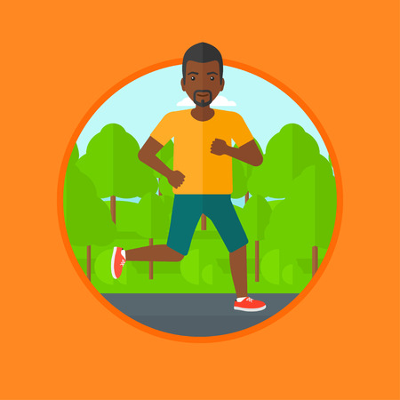 An african-american young man running. Male runner jogging outdoors. Sportsman running in the park. Running man on forest road. Vector flat design illustration in the circle isolated on background. Banco de Imagens - 63090379