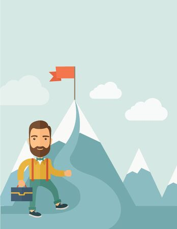 mountaintop: A Caucasian businessman holding his bag will climb up to top of the mountain to achieve success by holding the red flag. Willingness, leadership concept. A Contemporary style with pastel palette, soft blue tinted background with desaturated clouds. flat d Stock Photo
