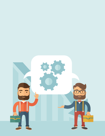 caucasian men: Two Caucasian men carrying bags thinking a new business in logistics. Brainstorming, speech bubble gears. Teamwork concept. A contemporary style with pastel palette, soft blue tinted background. flat design illustration. Vertical layout with text space on