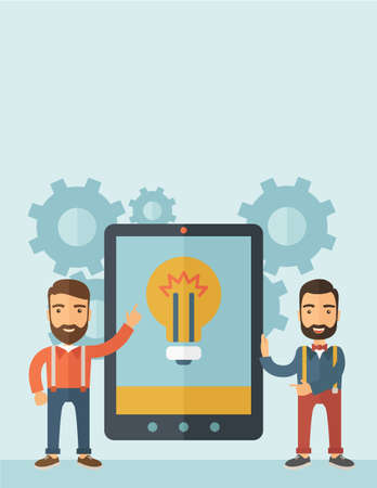 big screen: Two businessmen with beard standing while holding a big screen tablet with bulb icon a computer tablet perspective view strategy marketing. Business concept. A contemporary style with pastel palette, soft blue tinted background. flat design illustration.