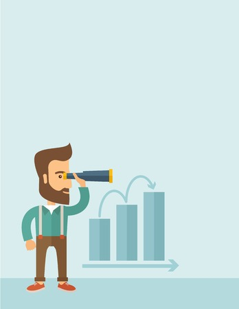 A Caucasian businessman standing using binocular to look over the graph that shows increasing in slaes. Growing business concept. A contemporary style with pastel palette, soft blue tinted background. flat design illustration. Vertical layout with text sp