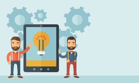 Two businessmen with beard standing while holding a big screen tablet with bulb icon a computer tablet perspective view strategy marketing. Business concept. A contemporary style with pastel palette, soft blue tinted background. flat design illustration.