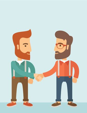 Two hipster Caucasian men standing facing each other handshaking for the successful business deal. Business partnership concept. A contemporary style with pastel palette, soft blue tinted background. flat design illustration. Vertical layout with text spa