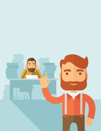 workingman: Two employees ,one happy walking ahead finished his task on time and the other is sad siitng and still working with those paper works on his table. Time management concept. A contemporary style with pastel palette, soft blue tinted background. flat design