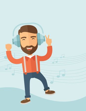 Happy young man with beard dancing, singing while listening to music with headphones showing the notes at his back. Happy concept. A contemporary style with pastel palette, soft blue tinted background. flat design illustration. Vertical layout with text s