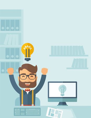 tex: A Caucasian young man is happy raising his two hands getting an idea through computer internet inside his office. Successful concept. A contemporary style with pastel palette, soft blue tinted background. flat design illustration. Vertical layout with tex