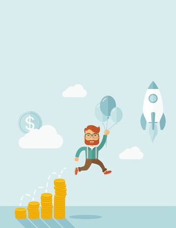 fly up: Businessman holding balloons fly high with coin graph that shows increase in sales. Start up business concept. A Contemporary style with pastel palette, soft blue tinted background with desaturated clouds. flat design illustration. Vertical layout with te