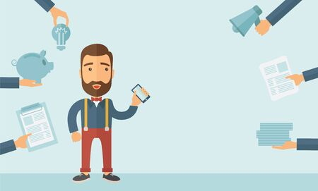 business for the middle: Man with smartphone in hand has a lot of of task and paperwork suitable for time management business concept. A contemporary style with pastel palette, soft blue tinted background. flat design illustration. Horizontal layout with text space in the middle. Stock Photo
