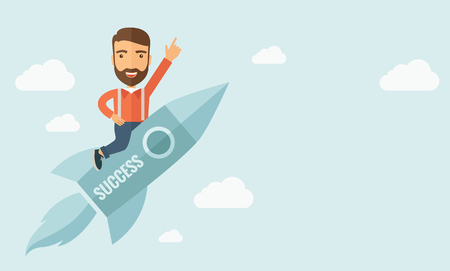 suited up: Happy businessman flying on a rocket with caption success and showing direction of movement suited for business start up concept design.A Contemporary style with pastel palette, soft blue tinted background with desaturated clouds. flat design illustration