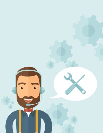 An operator man with headset customer service heldesk service with screwdriver and combination wrench inside bubble. Call center concept. A contemporary style with pastel palette, soft blue tinted background. flat design illustration. Vertical layout with Stock Photo