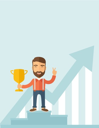 A Caucasian businessman proudly standing on the winning podium holding up winning trophy and showing an arrow pointing upward as his success. Winner concept. A contemporary style with pastel palette, soft blue tinted background. flat design illustration.  Stock Photo