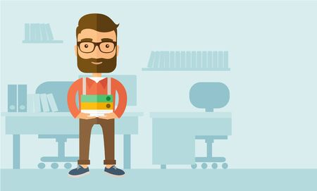 happy employee: Stressful but happy employee standing in office carrying his finished file report ready to submit to his superior. Busy concept. A contemporary style with pastel palette, soft blue tinted background. flat design illustration. Horizontal layout with text s