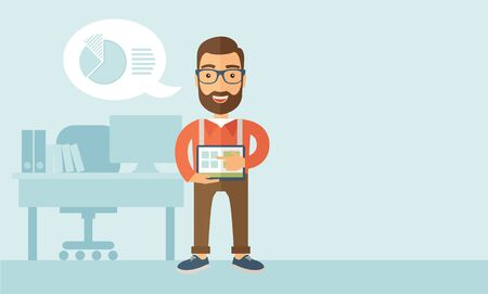 vertica: A Caucasian man standing while his hand pointing to the tablet to do his office presentation with the schedule of financial market. Business concept.  A contemporary style with pastel palette, soft blue tinted background. flat design illustration. Vertica