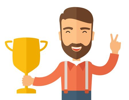 A Caucasian businessman proudly standing on the winning podium holding up winning trophy and showing an arrow pointing upward as his success. Winner concept. A contemporary style. flat design illustration with isolated white background. Horizontal layout