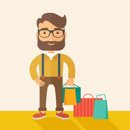 A man who go shopping with paper bags.  A Contemporary style with pastel palette, soft beige tinted background. flat design illustration. Square layout.