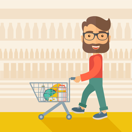 A male shopper pushing a shopping cart inside the supermarket. A Contemporary style with pastel palette, soft beige tinted background. flat design illustration. Square layout.