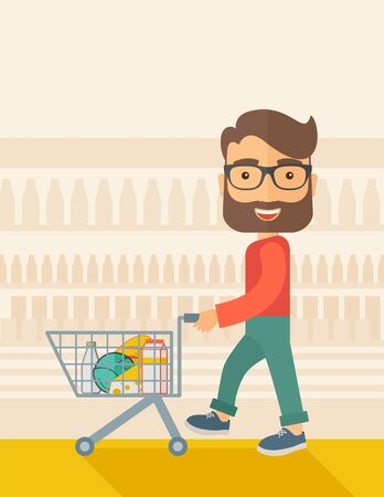 troley: A male shopper pushing a shopping cart inside the supermarket. A Contemporary style with pastel palette, soft beige tinted background. flat design illustration. Vertical layout. Stock Photo