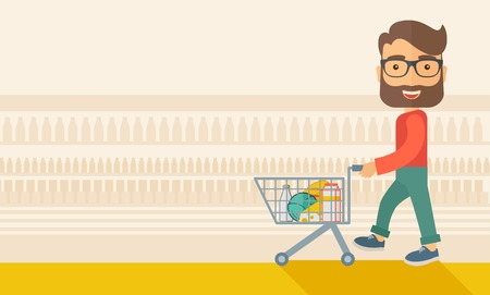 troley: A male shopper pushing a shopping cart inside the supermarket. A Contemporary style with pastel palette, soft beige tinted background. flat design illustration. Horizontal layout.