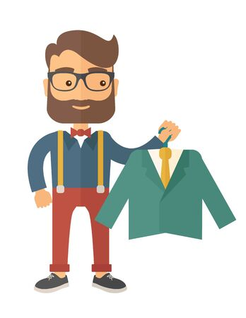choosing clothes: A happy young man chooses a perfect clothe to buy for him to wear. A contemporary style. flat design illustration with isolated white background. Vertical layout.