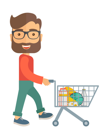 troley: A male shopper pushing a shopping cart inside the supermarket. A contemporary style. flat design illustration with isolated white background. Vertical layout.