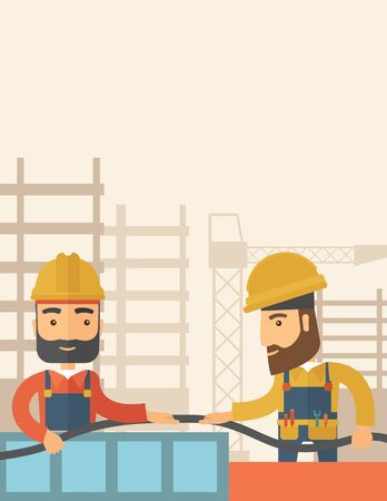 carpentry cartoon: A two hipster builders wearing hard hat for their safety ladders use for construction. A Contemporary style with pastel palette, soft beige tinted background. flat design illustration. Vertical layout with text space on top part.