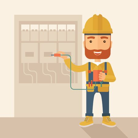 manual test equipment: A hipster Electrician wearing hard hat repairing an electrical panel. A Contemporary style with pastel palette, soft beige tinted background. flat design illustration. Square layout. Stock Photo