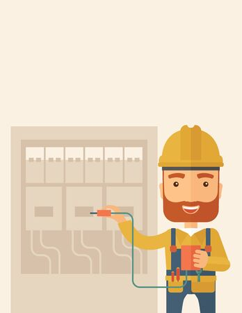electrical panel: A hipster Electrician wearing hard hat repairing an electrical panel. A Contemporary style with pastel palette, soft beige tinted background. flat design illustration. Vertical layout with text space on the top part.