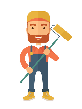 scraper: A young Caucasian glass cleaner wearing hat holding stick rubber scraper. A Contemporary style. flat design illustration isolated white background. Vertical layout. Stock Photo