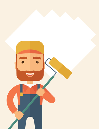 scraper: A young Caucasian glass cleaner wearing hat holding stick rubber scraper. A Contemporary style with pastel palette, soft beige tinted background. flat design illustration. Vertical layout with text space on the top part.