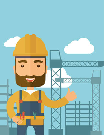 A construction worker standing with crane tower background. A Contemporary style with pastel palette, soft blue tinted background with desaturated clouds. flat design illustration. Vertical layout. Stock Photo