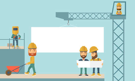 experienced: A experienced team workers with white board wearing helmets . A Contemporary style with pastel palette, soft blue tinted background. flat design illustration. Horizontal layout.