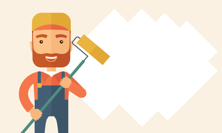 scraper: A young Caucasian glass cleaner wearing hat holding stick rubber scraper. A Contemporary style with pastel palette, soft beige tinted background. flat design illustration. Horizontal layout with text space in right side