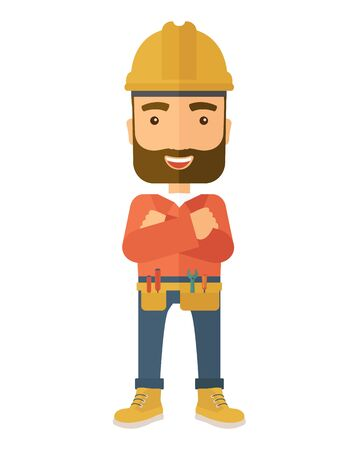 crossed arms: A happy and confident worker standing with crossed arms. . A Contemporary style. flat design illustration isolated white background. Vertical layout.