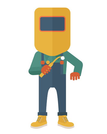 welded: A worker wearing welding mask, protection for eyes use for welding a metal or steel. A Contemporary style. flat design illustration isolated white background. Vertical layout.