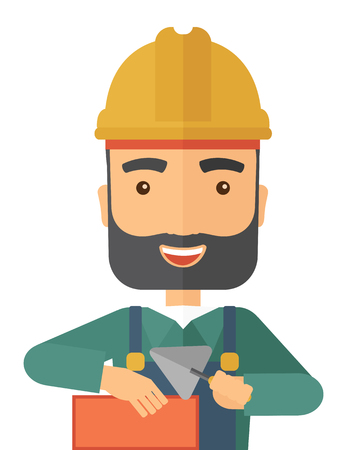 hand trowel: A happy construction mason worker with trowel in hand wearing hard hat. A Contemporary style. flat design illustration isolated white background. Vertical layout.