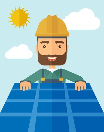 thermal: A man putting a solar panel on the roof as a alternative energy system. A Contemporary style with pastel palette, soft blue tinted background with desaturated cloud.  flat design illustration. Vertical layout Stock Photo