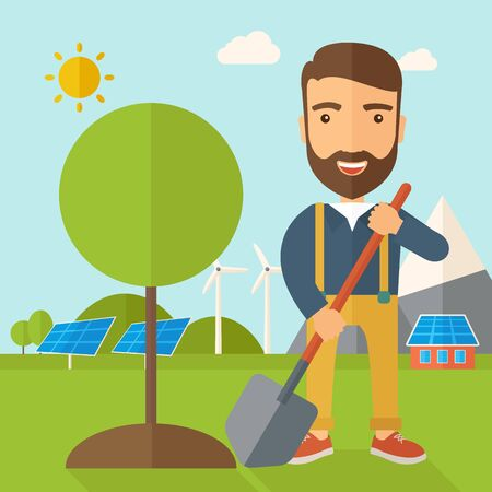sembrando un arbol: A happy gardener planting a tree using in his yard using shovel under the heat of the sun. A Contemporary style with pastel palette, soft blue tinted background with desaturated clouds. flat design illustration. Square layout.