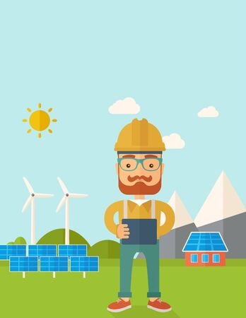 A young hipster male standing while holding a blueprint monitoring the solar panels with wind turbine. A Contemporary style with pastel palette, soft blue tinted background with desaturated clouds. flat design illustration. Vertical layout with text space