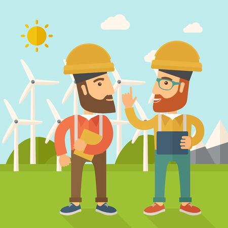 wind mills: A two workers wearing hard hat talking infront of windmills under the sun. A Contemporary style with pastel palette, soft blue tinted background with desaturated clouds. flat design illustration. Square layout. Stock Photo