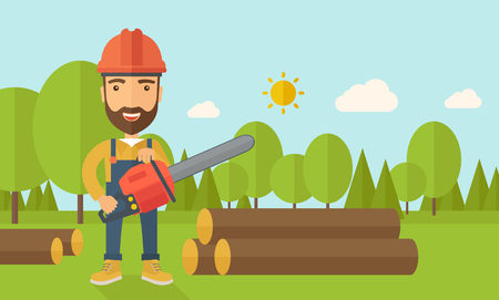 Lumberjack with hard hat as protection cuts a tree by chainsaw under the heat of the sun. A Contemporary style with pastel palette, soft blue tinted background with desaturated clouds. flat design illustration. Horizontal layout